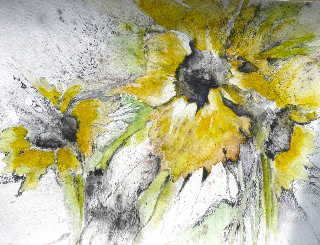 This image has an empty alt attribute; its file name is Sunflower-in-the-wind-Mixed-media-on-paper-9-x-12-in--1024x784.jpg
